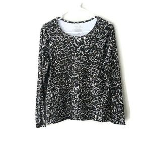 Time & Tru Animal Print Long Sleeve Top Sz L